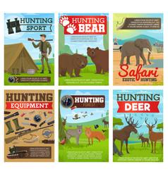 hunting animals hunter guns and equipment vector image