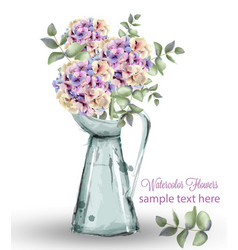 hydrangeas watercolor floral bouquet vector image
