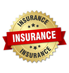 Insurance 3d gold badge with red ribbon vector