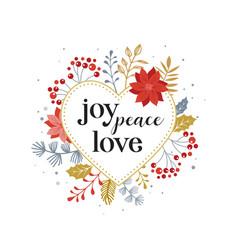joy peace love merry christmas card vector image