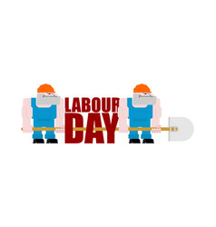 labor day logo workers and shovels sign for vector image