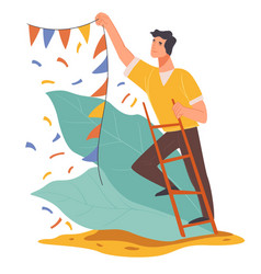Male character hanging decorative flags for party vector
