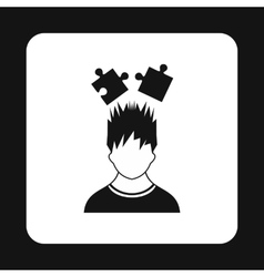 Man with puzzles over head icon simple style vector image
