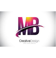 Mb m b purple letter logo with swoosh design vector