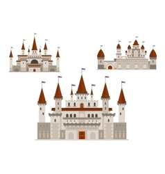 Medieval palaces or castles with towers and spires vector