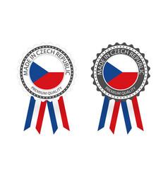Modern made in czech republic labels vector