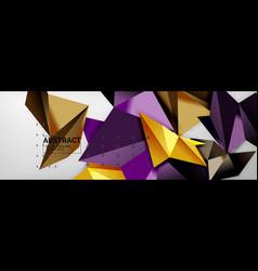 Mosaic triangular 3d shapes composition geometric vector