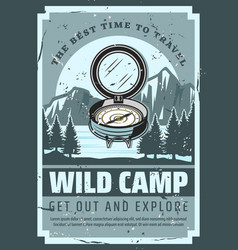 mountain trip wild nature camp adventure vector image