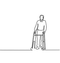old man using a walking frame vector image