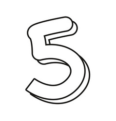 Outlined number five on white background vector