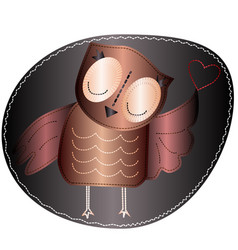 Owl is holding a heart imitation stripe fabric vector