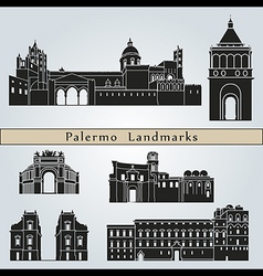 Palermo landmarks and monuments vector