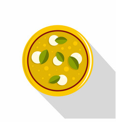 Pizza with cheese and basil icon flat style vector