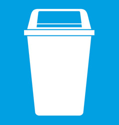 plastic flip lid bin icon white vector image