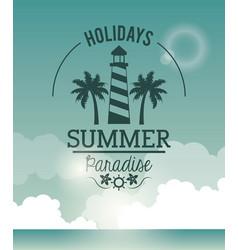 poster sky ocean landscape of logo holidays summer vector image