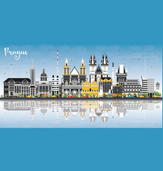 Prague czech republic city skyline with color vector