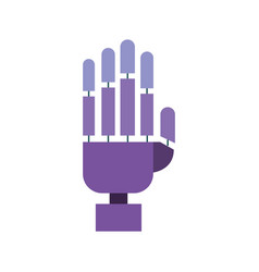 robotic hand colorful silhouette on white vector image