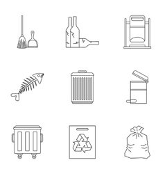 Rubbish icons set outline style vector