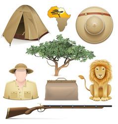 Safari icons set vector