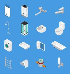 Sanitary engineering isometric icons vector