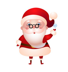 santa claus with a blue snowflake vector image