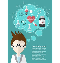 Scientist who thinks about health and medicine vector