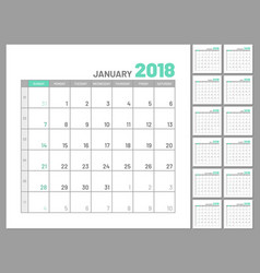 Set identical planners 2018 january separately vector