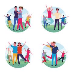 set of dancing people avatar vector image