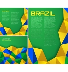 Set of geometric backgrounds - Brazil flag colors vector image