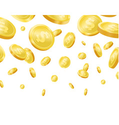 shiny golden falling coins realisitc vector image
