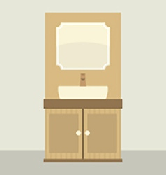Single Lavatory With Mirror And Cabinet vector image