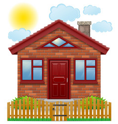 Small country house with a wooden fence vector