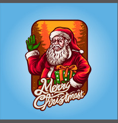 smiley santa claus merry christmas with gift vector image