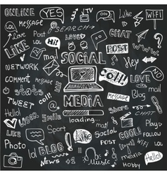 Social Media Word and Icon CloudDoodle sketchy vector