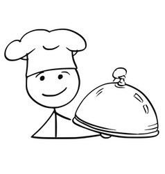 stick man cartoon of male cook chef in hat vector image