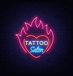 tattoo salon logo neon sign a symbol of vector image