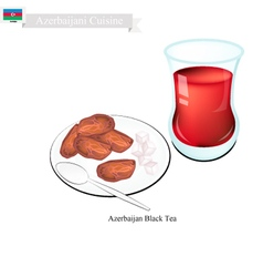 Traditional Black Hot Tea in Azerbaijan vector image