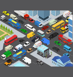 Traffic jams on a city landscape background scene vector