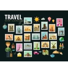 Travel journey Icons set Postage stamps vector