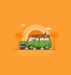 Travel surfing car on summer beach vector