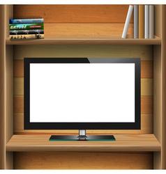 Tv widescreen lcd monitor on wooden shelf vector