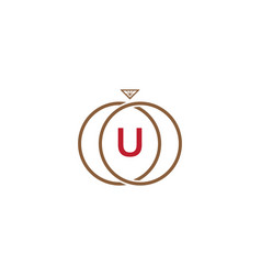 u letter ring diamond logo vector image