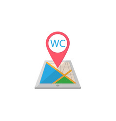 wc toilet map pointer flat icon mobile gps vector image