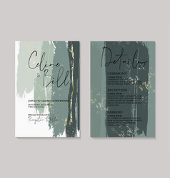 Wedding green luxury invitation cards with gold vector