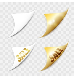 White and gold paper stickers vector image