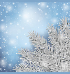 winter fir tree and snow natural template vector image