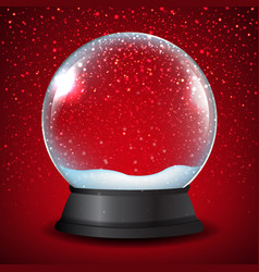 winter snow globe with red background vector image