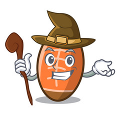 witch rugby ball mascot cartoon vector image