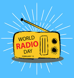 world radio day concept february 13 vector image