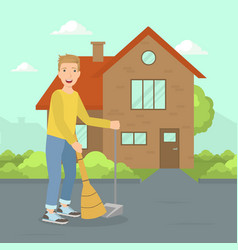 Young man sweeping street with broom janitor vector